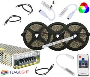 SET 15 m LED  5050 30 LED/m RGB  with Power supply, RF  controller, Amplifier