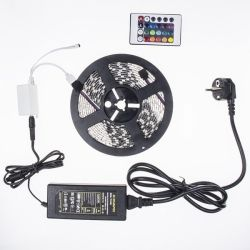 Комплект 5 м RGB LED лента, FLAGLIGHT, SMD5050 60 LED/m IP20+IR контролер 24 key+адаптер 6A