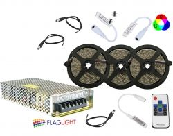 SET 15 m LED  5050 60 LED/m RGB  with Power supply, RF  controller, Amplifier
