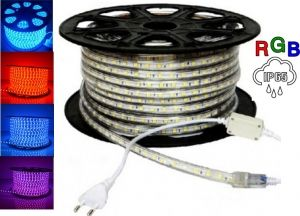 Waterproof LED strip  RGB for 220 V + controller & power plug ► 10m, 20m, 30m