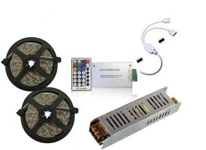 SET 10 m LED  5050 60 LED/m RGB  with Power supply, RF  controller