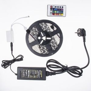 Set 5m LED  strip 5050 60 LED/m RGB +controller 24 key+ Adapter